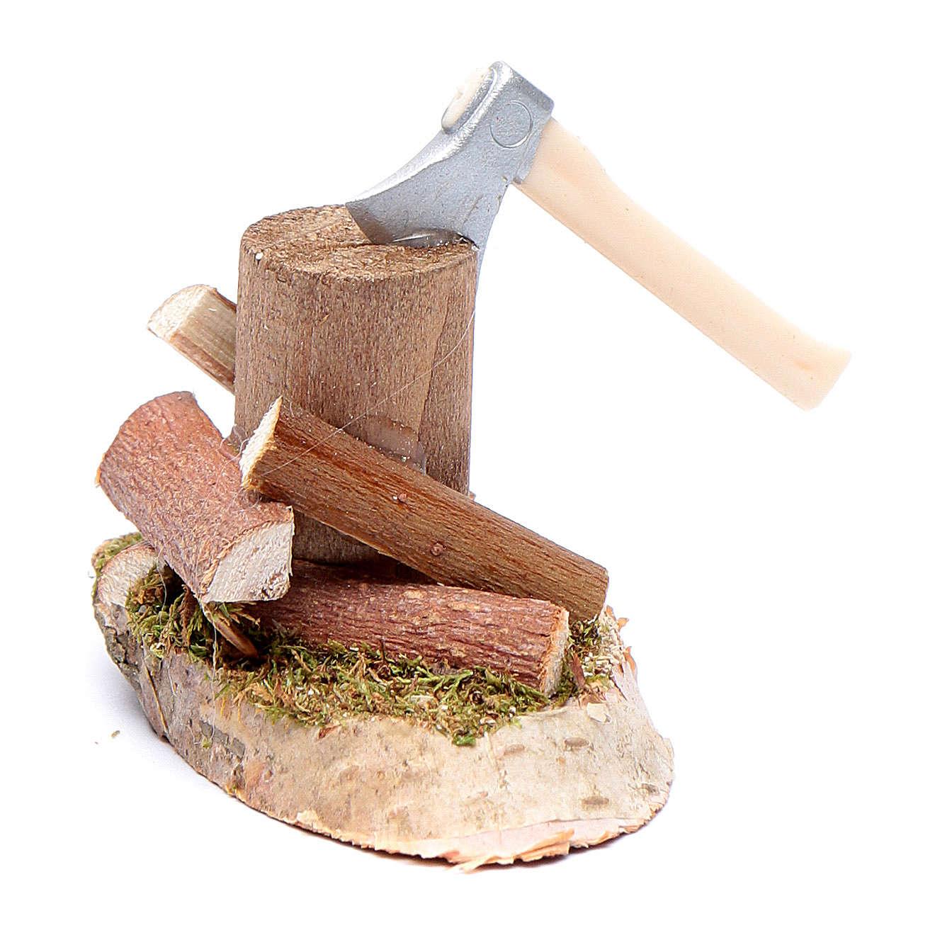 Taglialegna su tronco accessori presepe 4