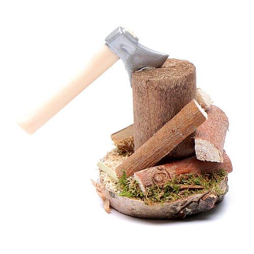 Taglialegna su tronco accessori presepe 1