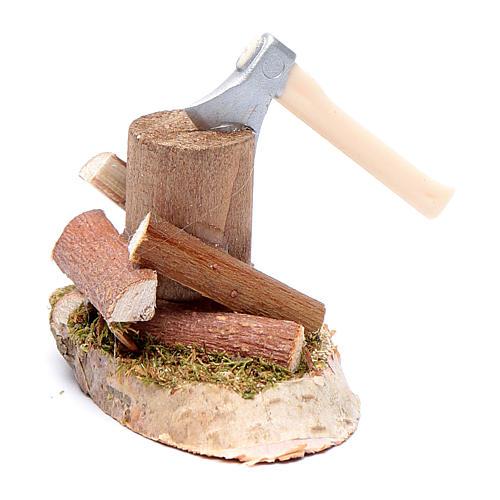 Taglialegna su tronco accessori presepe 2