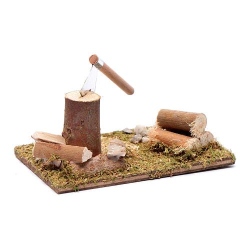 Taglialegna e tronchi su base campo accessori presepe 5x10x5 cm 2
