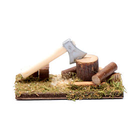 Miniature tools: Axe and trunks for nativity scene setting