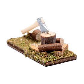 Ascia e tronchi ambientazione per presepe s2