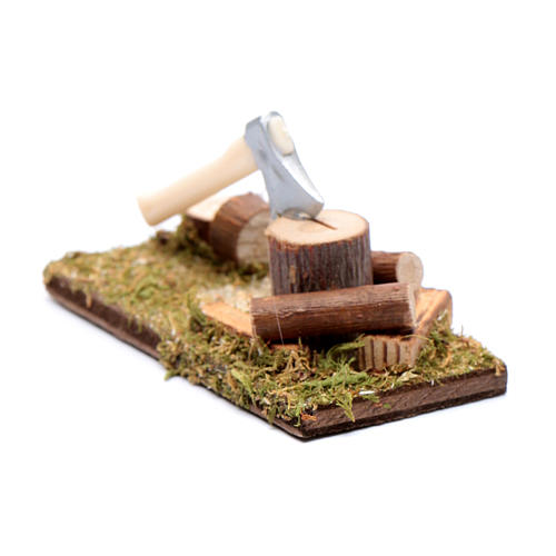 Ascia e tronchi ambientazione per presepe 2