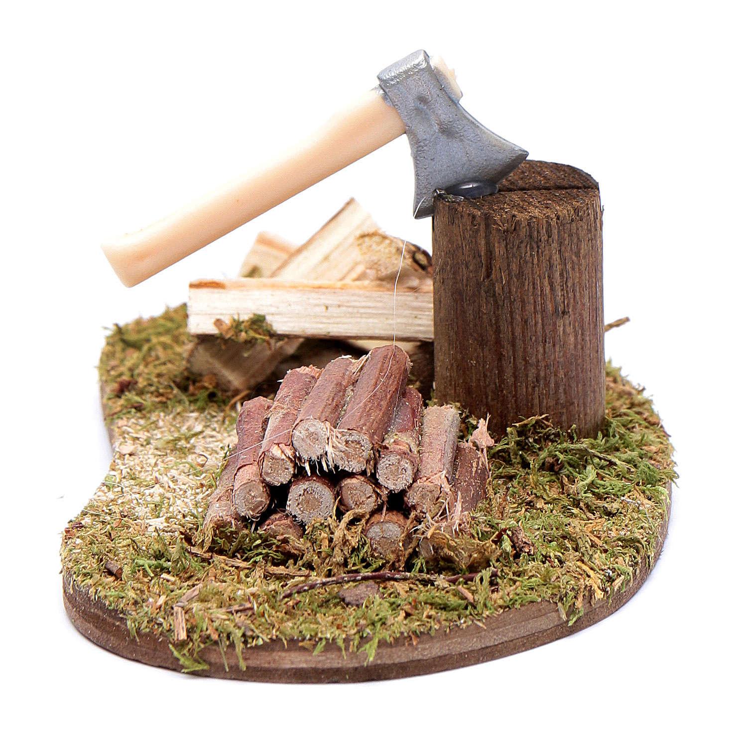 Accessorio presepe ascia con tronchi in legno 4