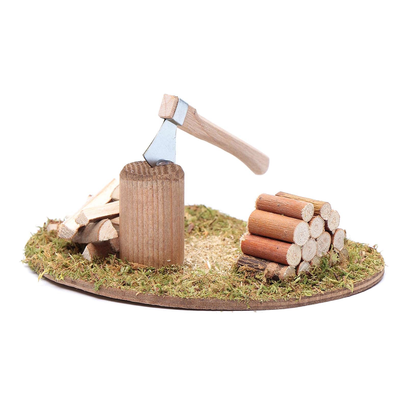 Hacha y troncos para cortar accesorio para belén 4