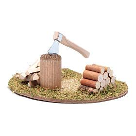 Hacha y troncos para cortar accesorio para belén s2