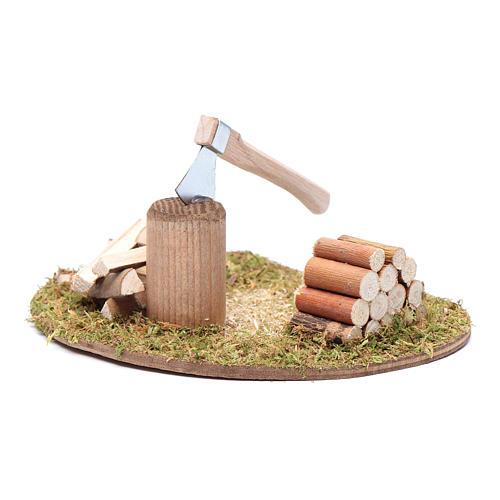Hacha y troncos para cortar accesorio para belén 2