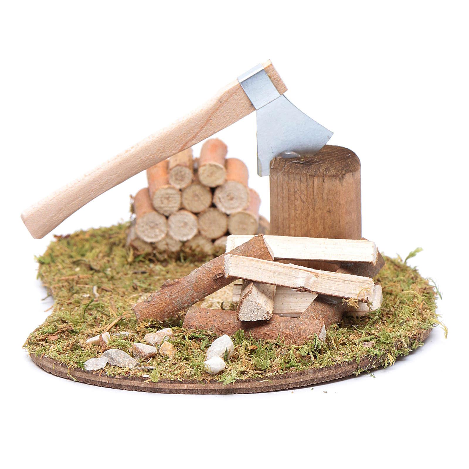 Ascia e tronchi da tagliare accessorio per presepe 4