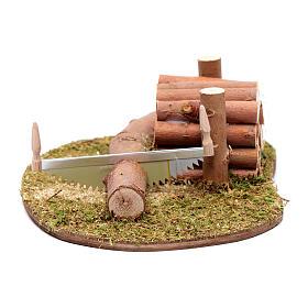 Ambientazione seghetto e legna 5x15x10 cm s1
