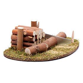 Ambientazione seghetto e legna 5x15x10 cm s2