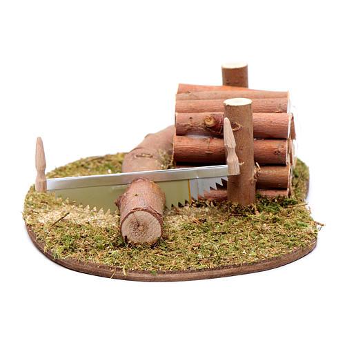 Ambientazione seghetto e legna 5x15x10 cm 1