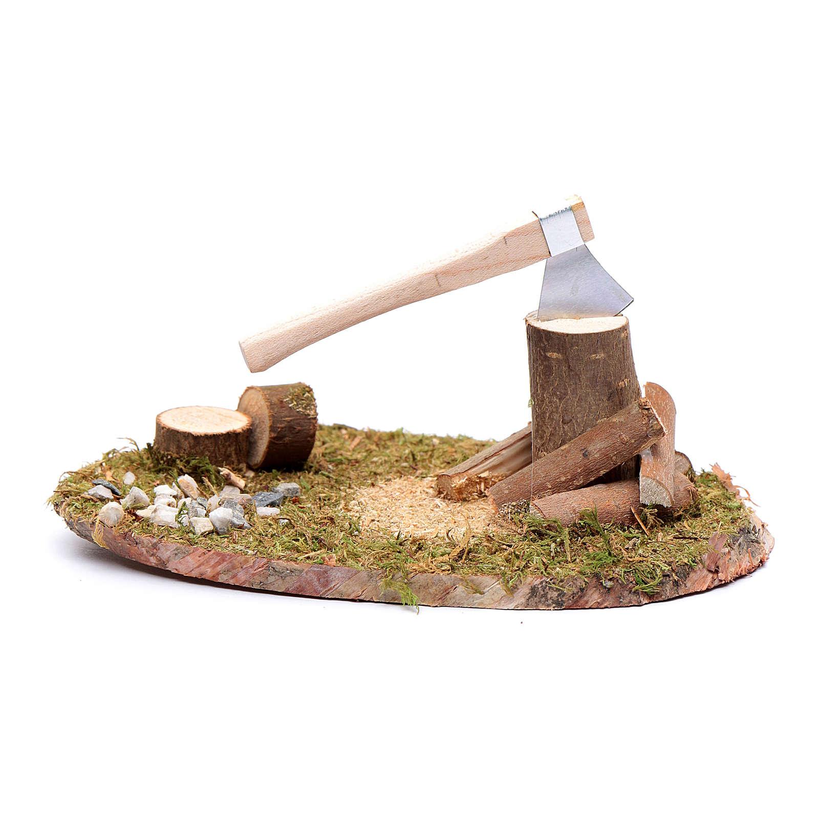 Ambientazione momento taglio di tronchi con ascia 4