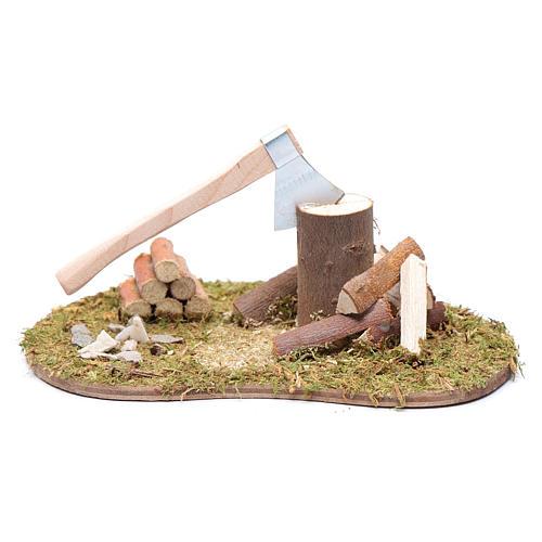Accessorio campo di erba ovale ascia e legna 1