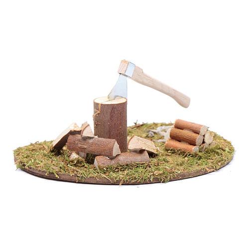 Accessorio campo di erba ovale ascia e legna 2