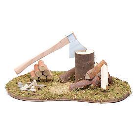 Narzędzia do pracy szopka: Akcesorium pole trawy owalne siekiera i drewno