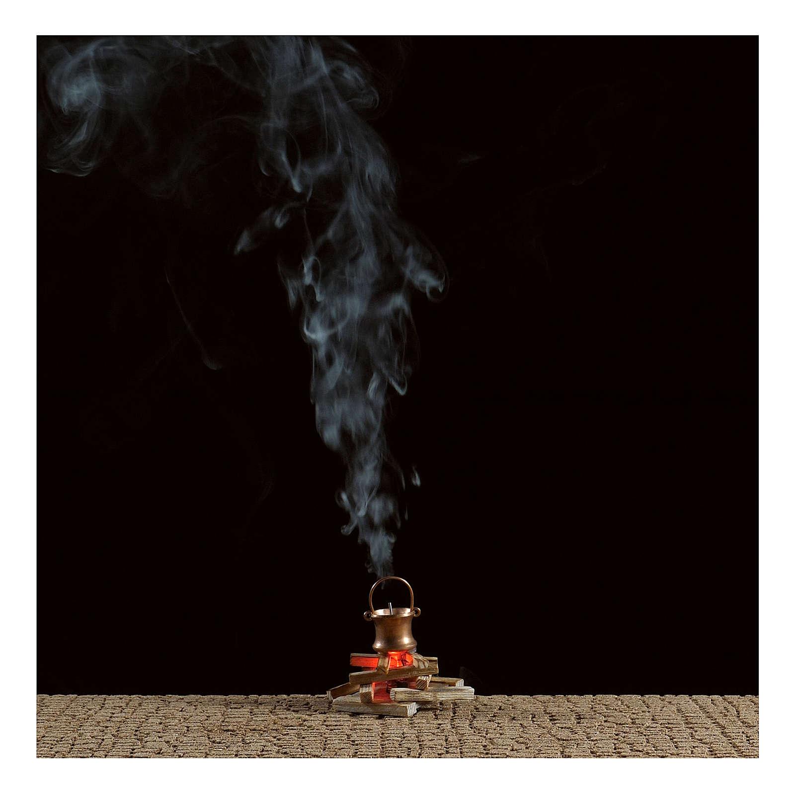 Olla sobre fuego con máquina de humo 4,5 V 4