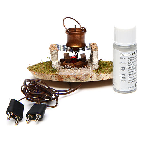 Pot on stone grill in fireplace 4,5 V 3
