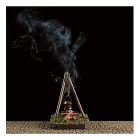 Nativity scene setting 10x10x10 cm pot on campfire 4,5 V s2