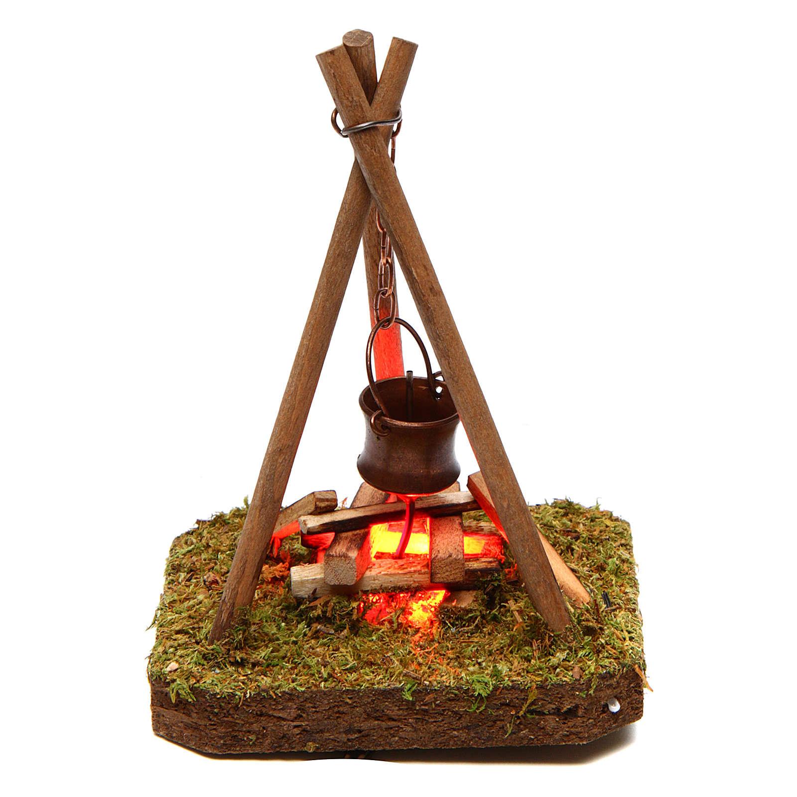 Décor 10x10x10 cm casserole sur feu de camp 4,5 V 4