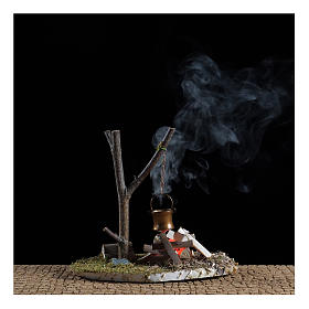 Bivouac bonfire scene with pot 10x15x10 cm s2