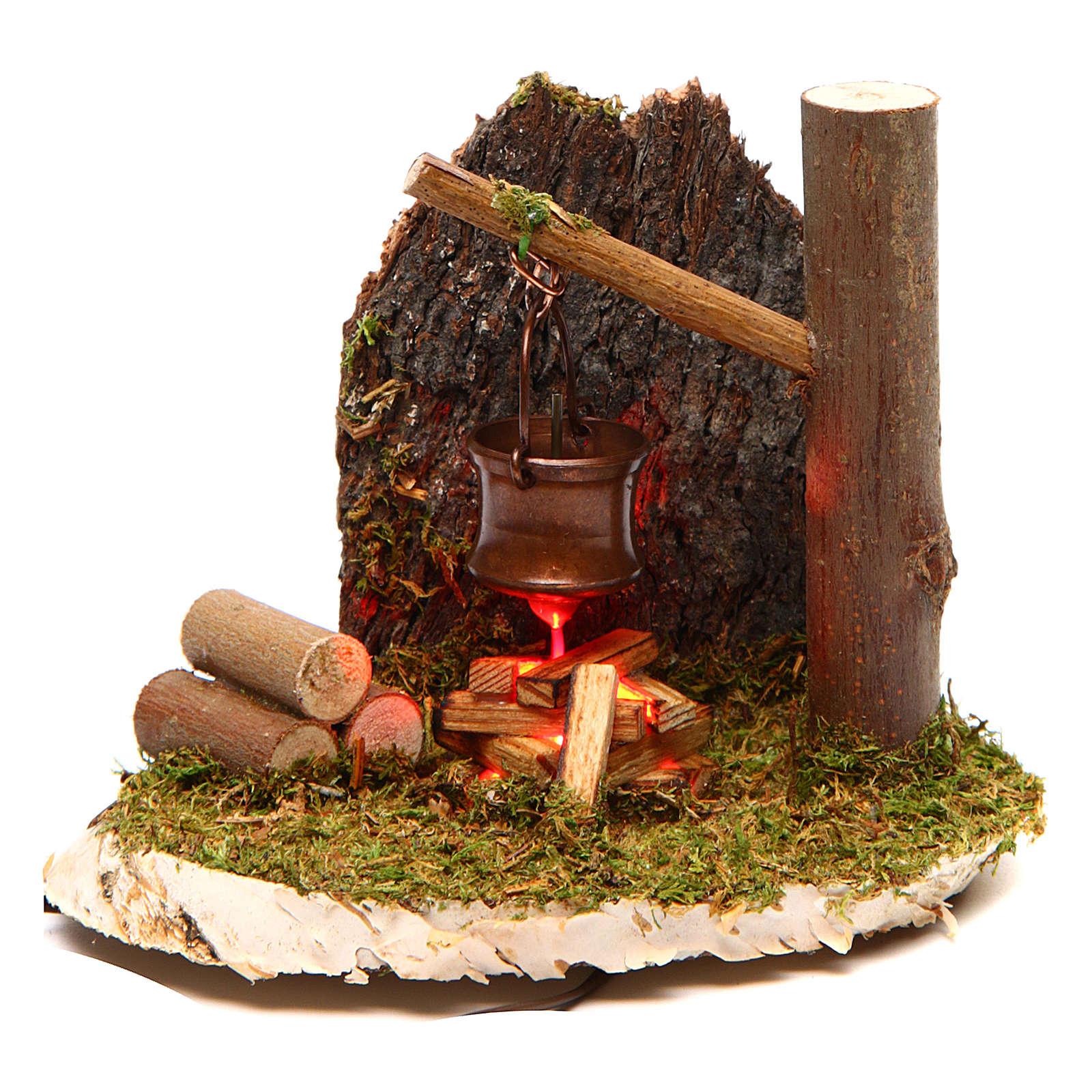 Escena olla sobre fuego rama de árbol 4,5 V 4