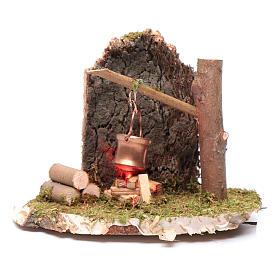 Scena pentola su fuoco rame d'albero 4,5 V s1