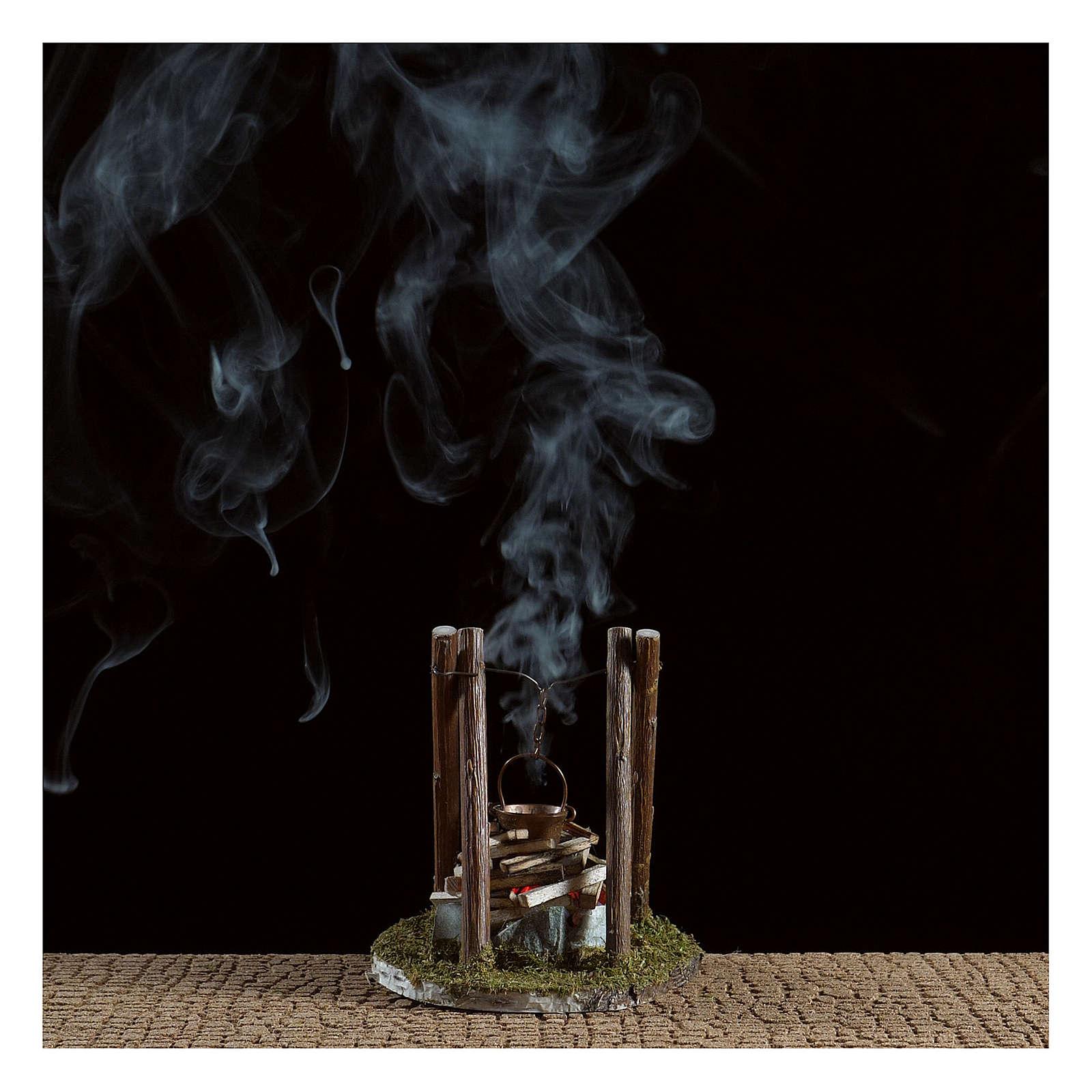 Fogata con olla y piedras belén efecto humo 10x10x10 cm 4