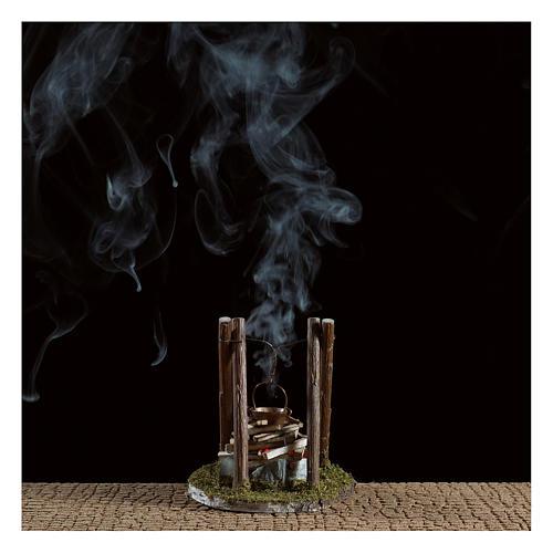 Fogata con olla y piedras belén efecto humo 10x10x10 cm 2