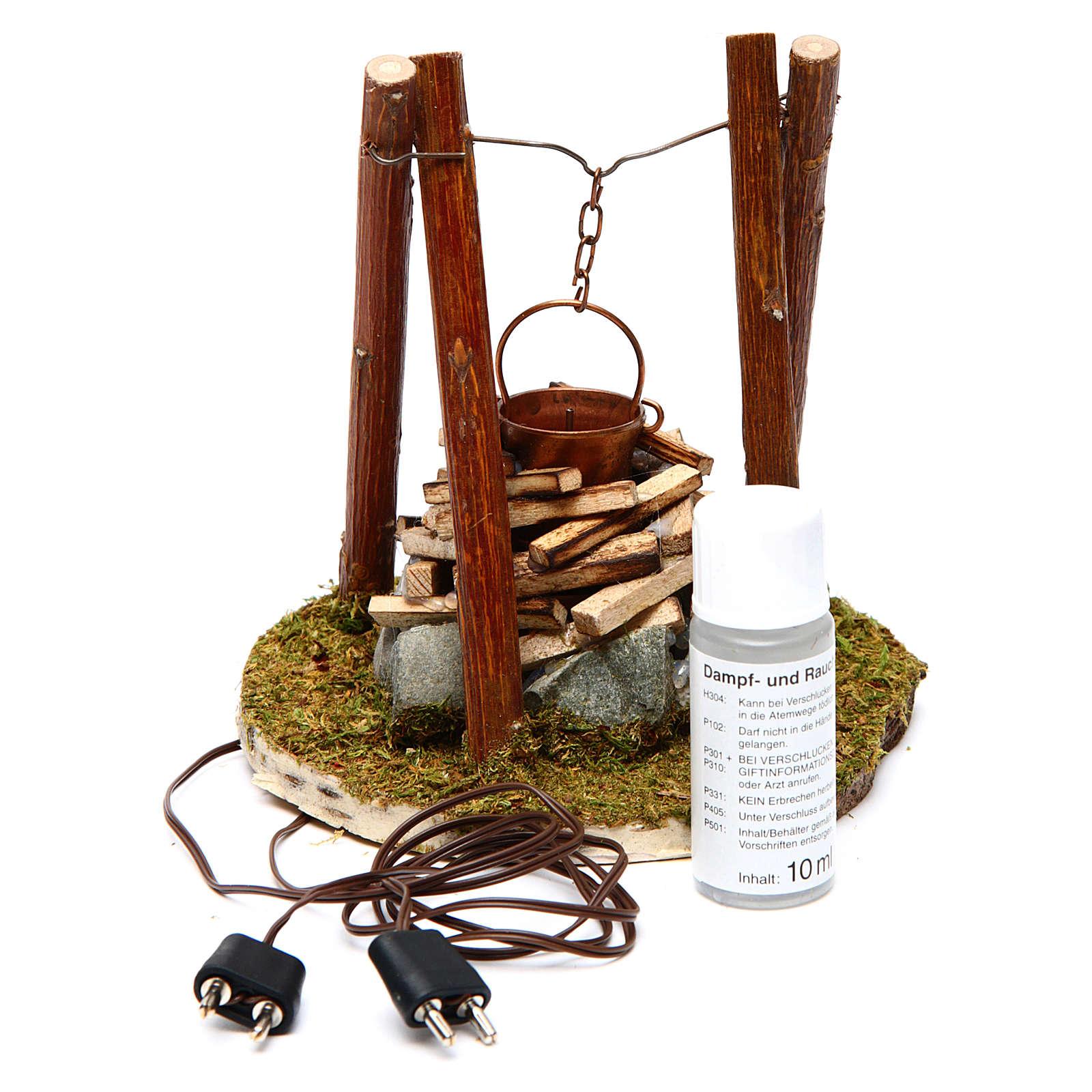 Feu avec bois et pierres accessoire crèche 10x10x10 cm 4