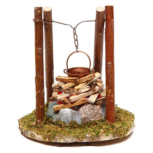 Feu avec bois et pierres accessoire crèche 10x10x10 cm 1