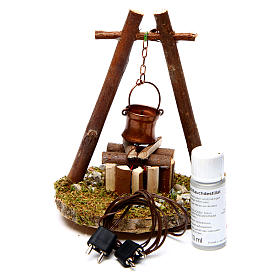 Bivouac setting with pot on wooden base s3