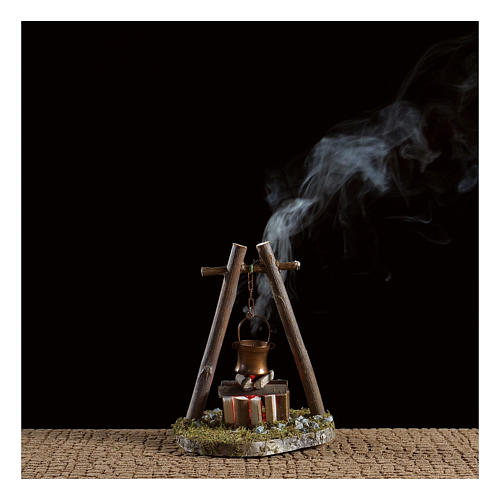 Bivouac setting with pot on wooden base 2
