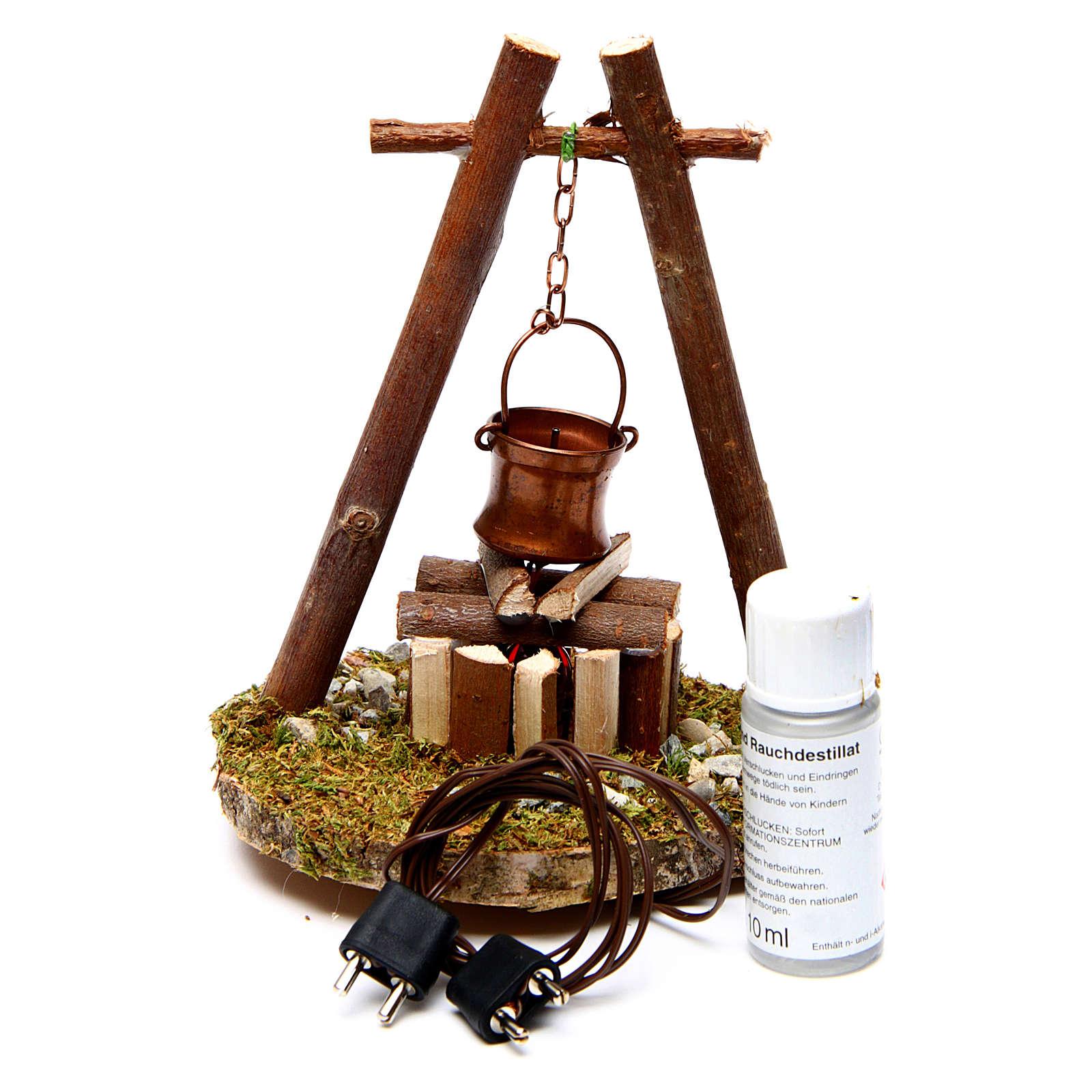 Ambientazione bivacco pentola su base legno 4