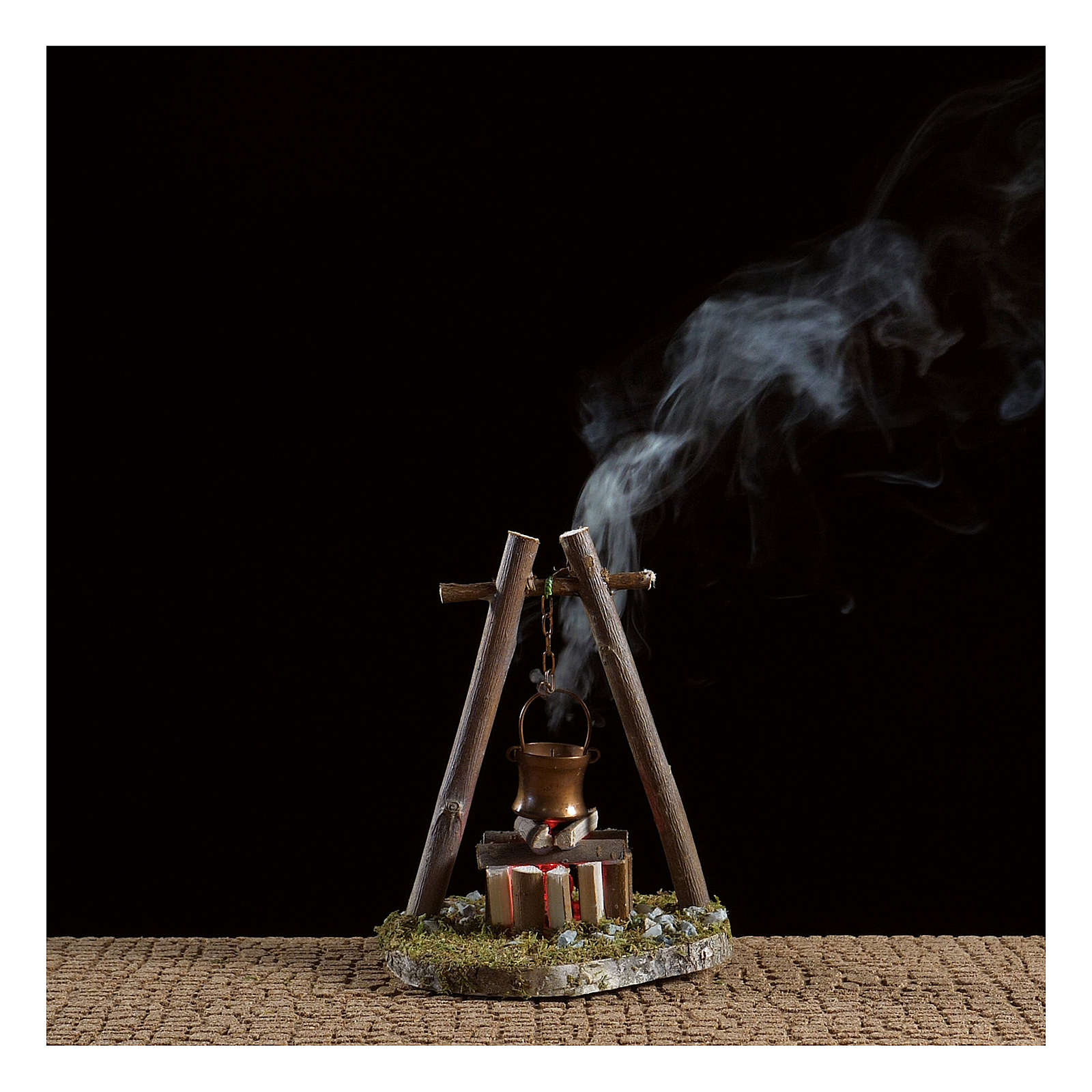 Bivouac setting with pot on wooden base 4