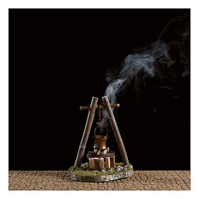 Bivouac setting with pot on wooden base s2