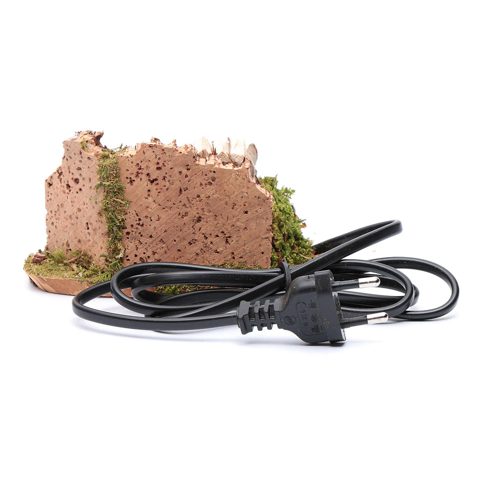 Casserole sur feu avec bois et mur en liège 7x14x7 cm 4