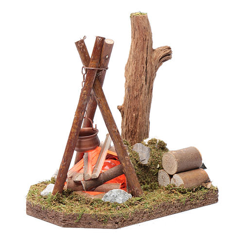 Pot and wood for bivouac 230 V 2