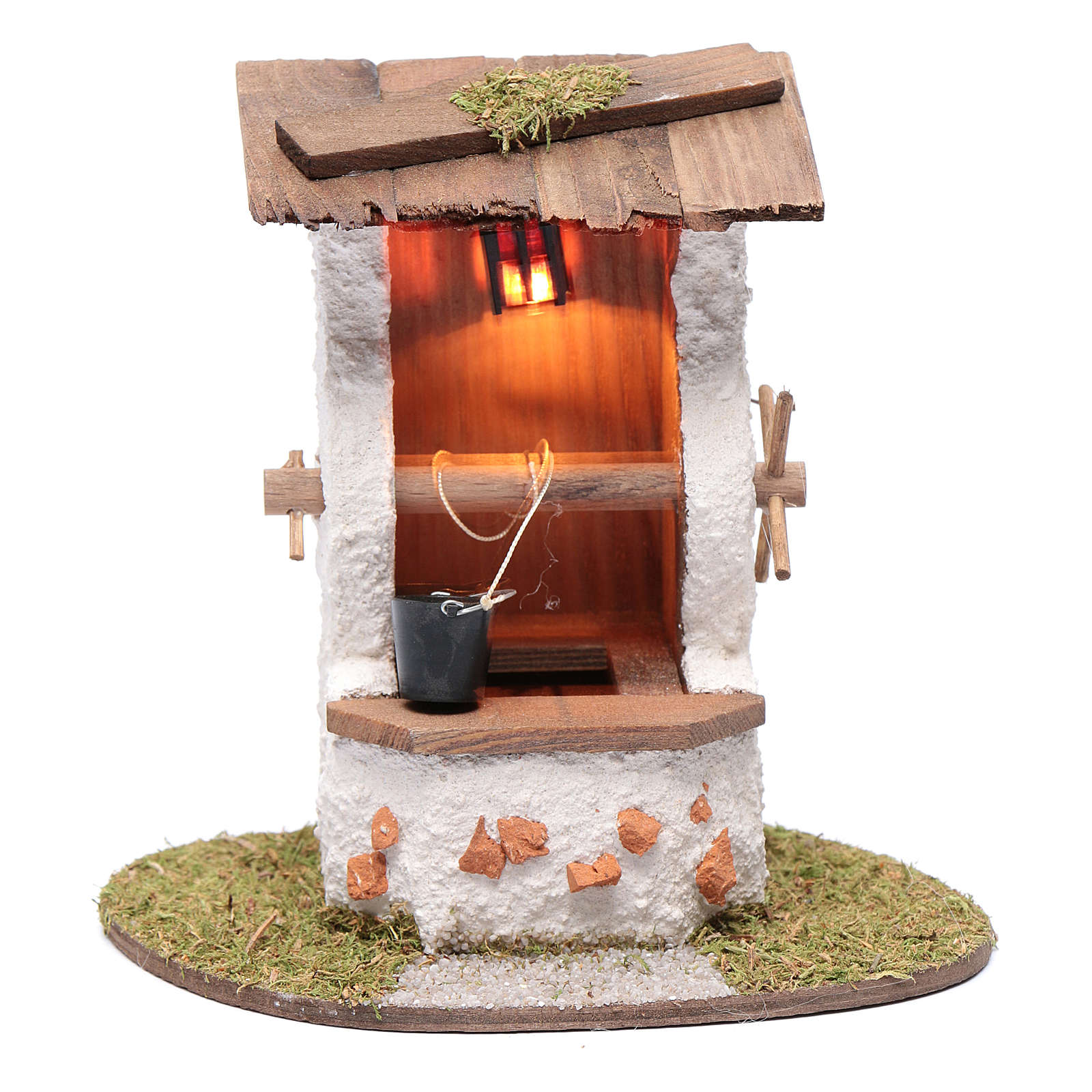 Pozzo con secchio 15x15x10 cm e lanterna illuminata 4