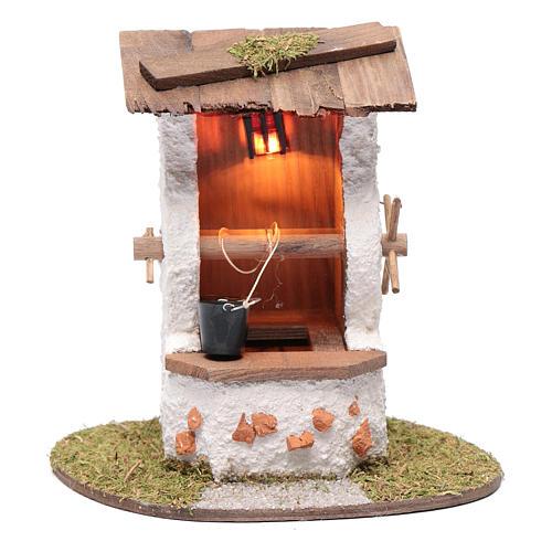Pozzo con secchio 15x15x10 cm e lanterna illuminata 1