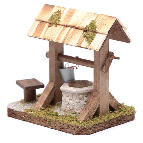 Well under canopy with movable bucket - nativity scene accessory 2