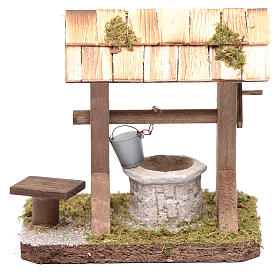 Well under canopy with movable bucket - nativity scene accessory s1