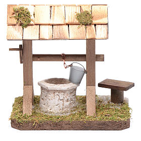 Well under canopy with movable bucket - nativity scene accessory s4