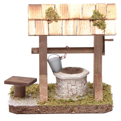 Well under canopy with movable bucket - nativity scene accessory 1