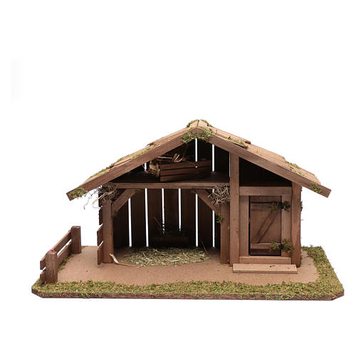 Nativity scene accessory 30x55x30 cm stable suitable for 12 cm statues 1
