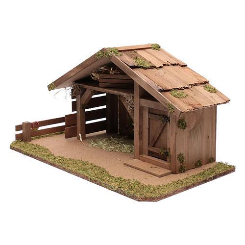 Nativity scene accessory 30x55x30 cm stable suitable for 12 cm statues 2