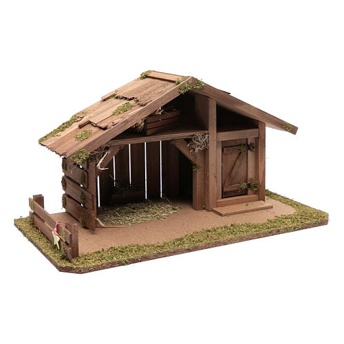 Nativity scene accessory 30x55x30 cm stable suitable for 12 cm statues 3
