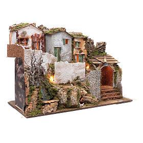 Escenografía pesebre con casitas, cascada y luces 55x75x40 cm s3