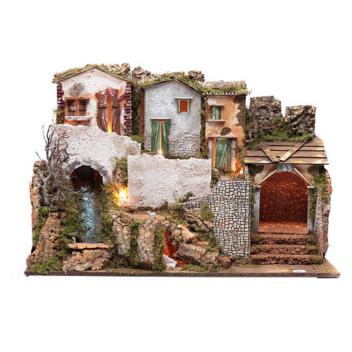 Escenografía pesebre con casitas, cascada y luces 55x75x40 cm 1