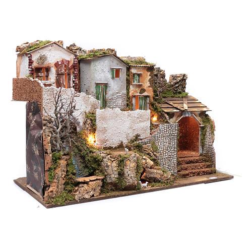 Escenografía pesebre con casitas, cascada y luces 55x75x40 cm 3
