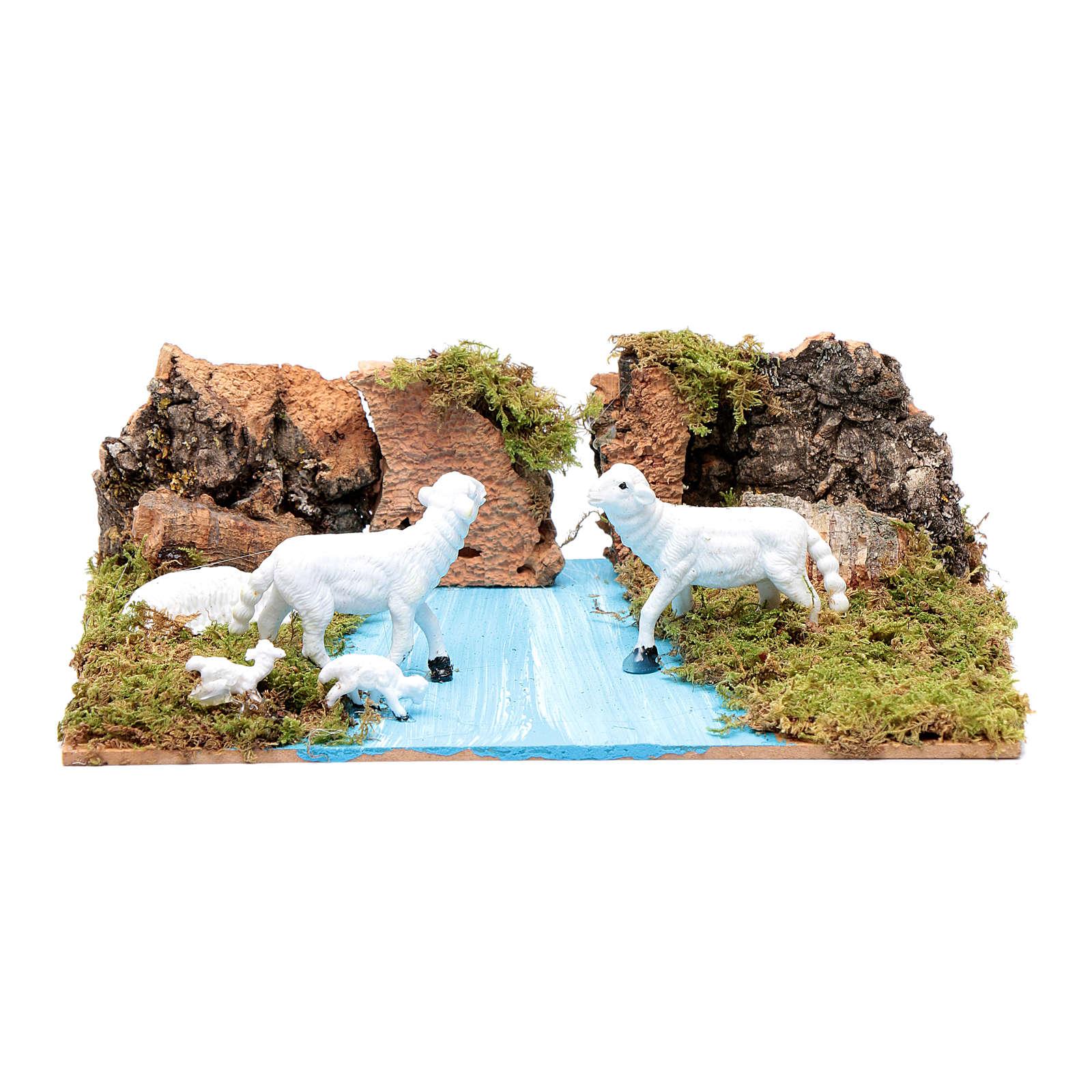 Ambientazione per presepe con pecore 5x20x15 cm 4